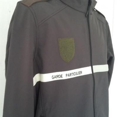 Veste softshell garde particulier, garde chasse 300gr coloris marron