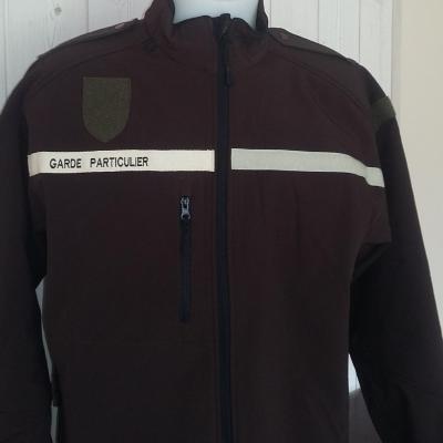 Veste softshell Sport garde particulier, garde chasse 350gr coloris marron