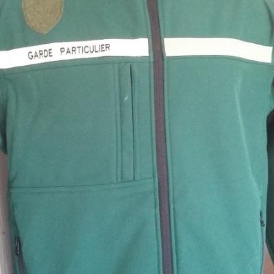 Veste softshell garde particulier, garde chasse 300gr coloris vert